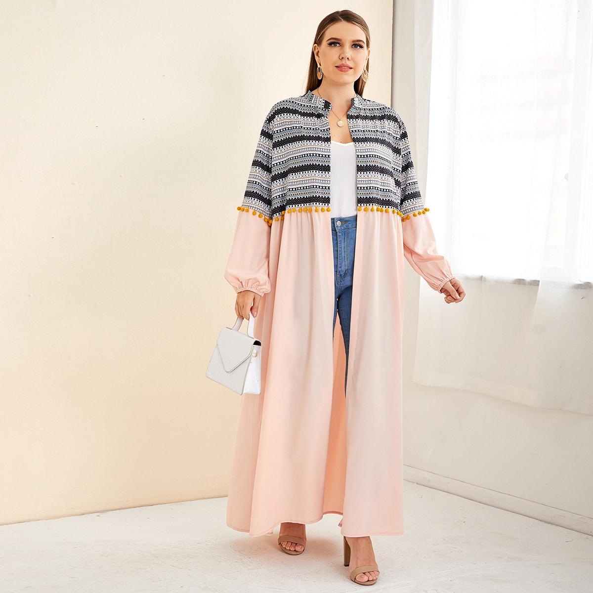 С бахромой геометрический принт бохо кимоно размер плюс