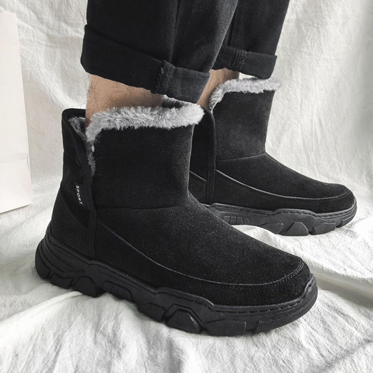 Без молнии контрастный искусственный мех одноцветный мужские ботинки
