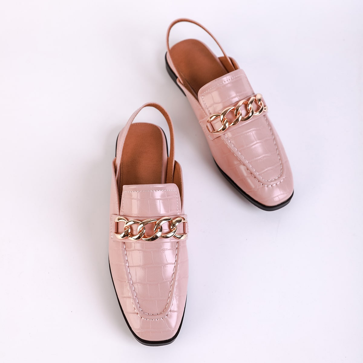 Chain Decor Croc Embossed Slingback Loafers