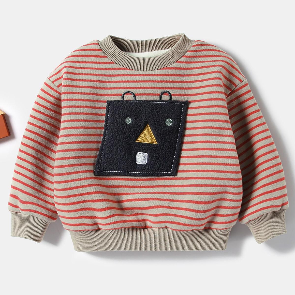 С вышивкой полосатый повседневный свитшоты для малышей