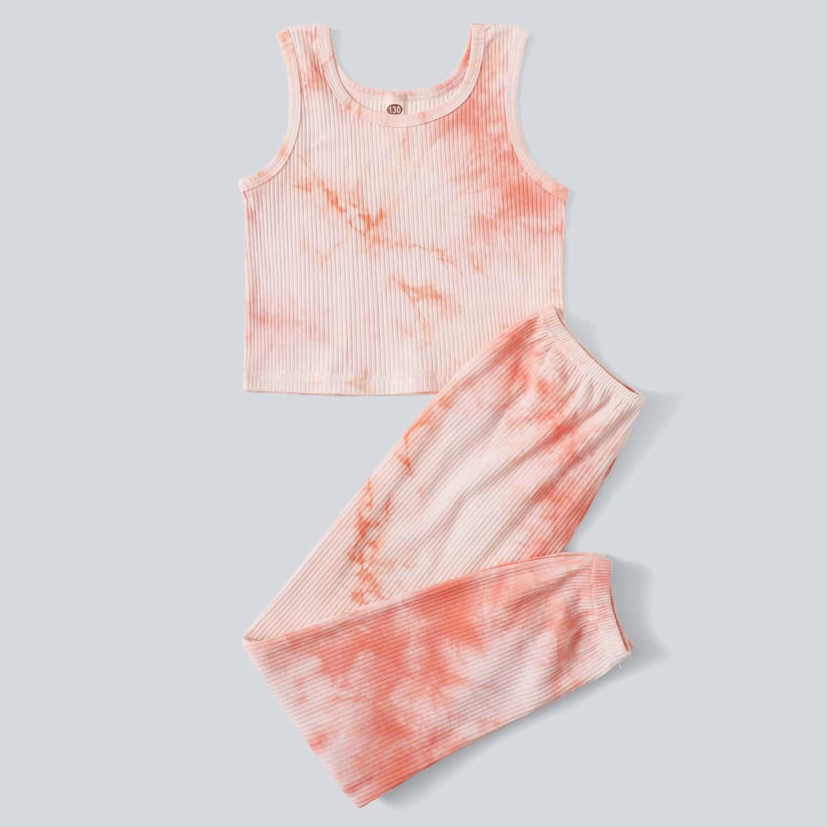 трикотажный тай дай Повседневный Домашняя одежда для девочек