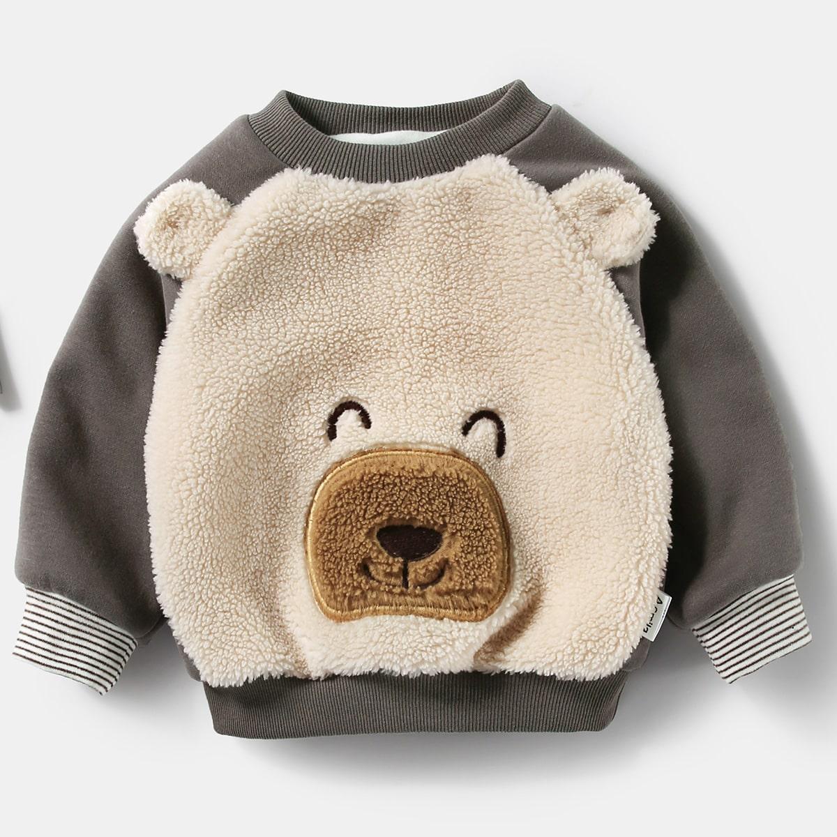 С вышивкой мультяшный принт милый свитшоты для малышей