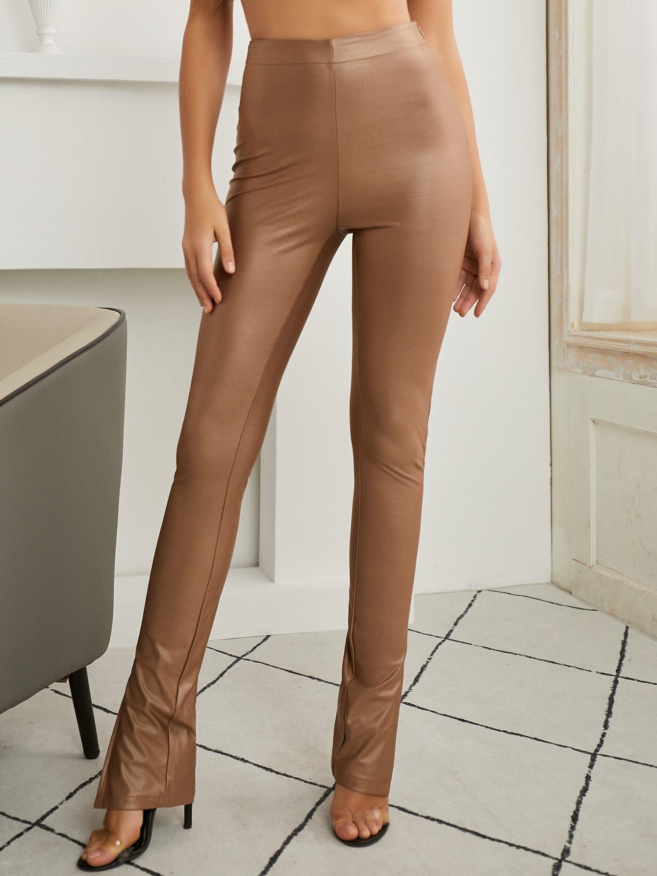 Zip Side Slit Hem Leather Look Pants thumbnail
