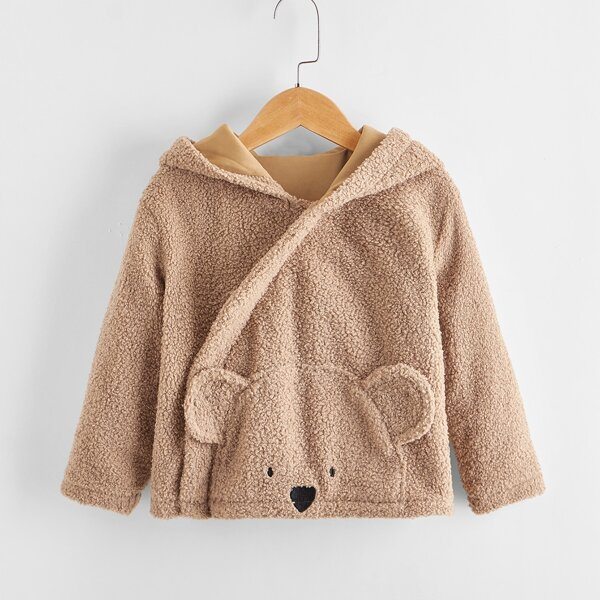 Toddler Girls 3D Ears Patched Teddy Hoodie, Apricot