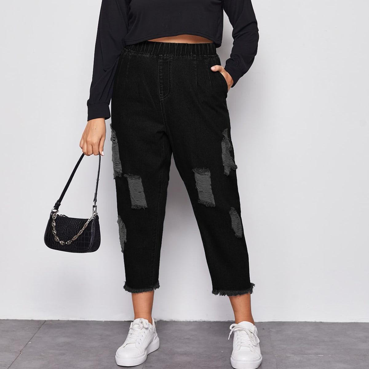 Рваные короткие джинсы размера плюс с эластичной талией