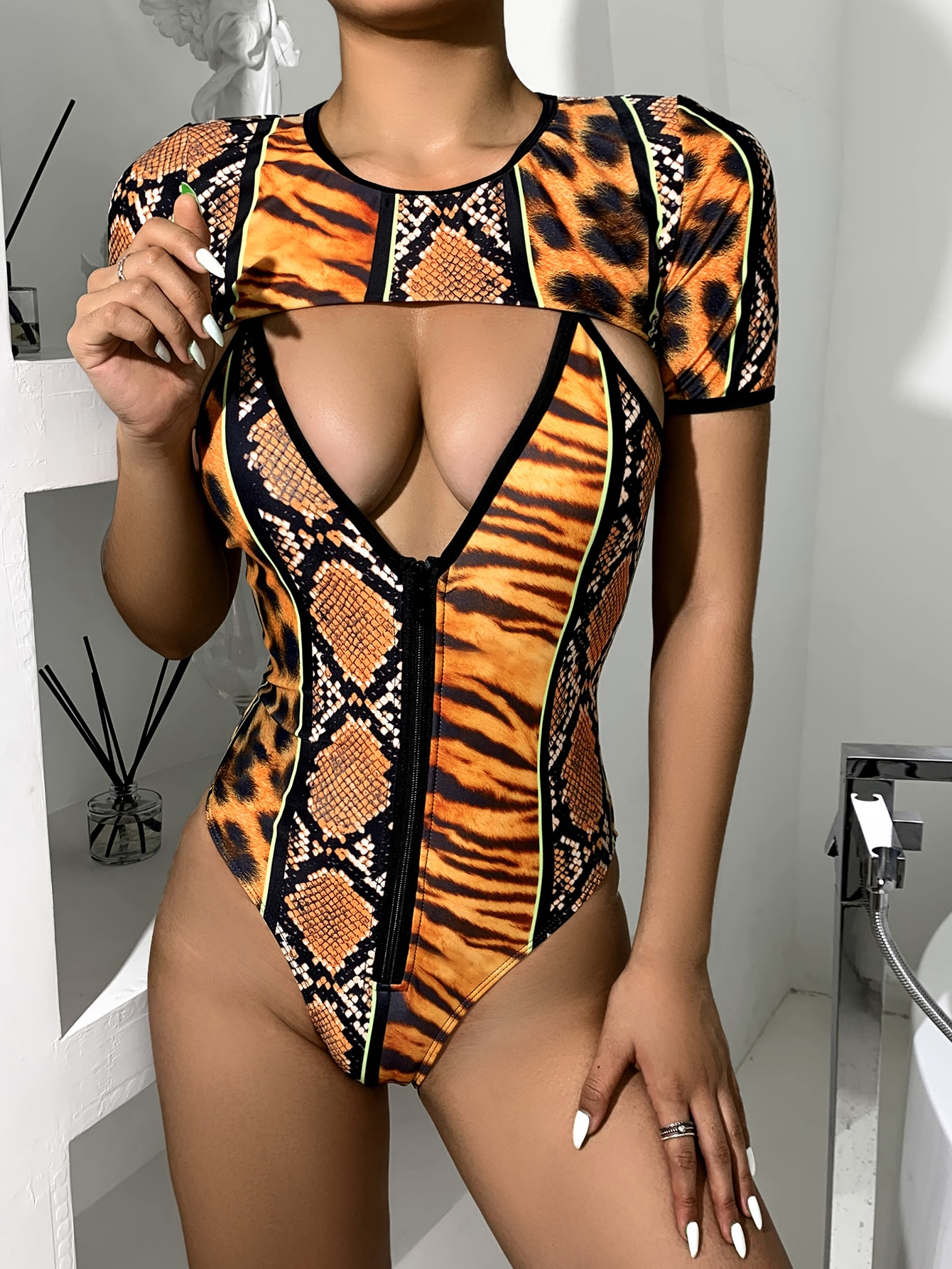 2pack Animal Pattern Zip Front One Piece Swimsuit thumbnail