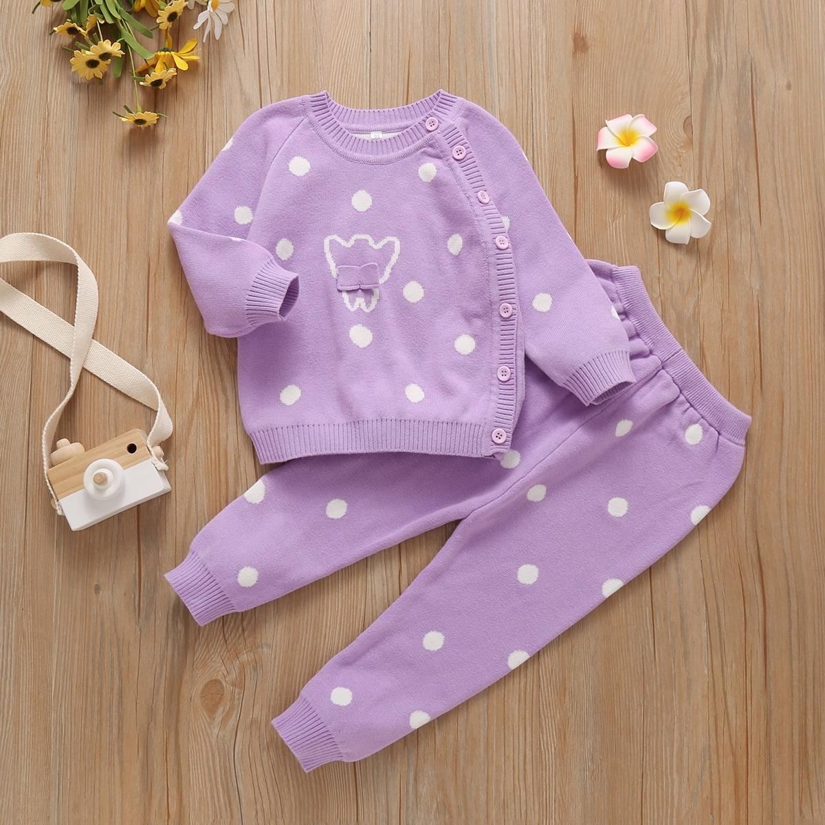 Свитер с пуговицами и трикотажные брюки в полоску для девочек