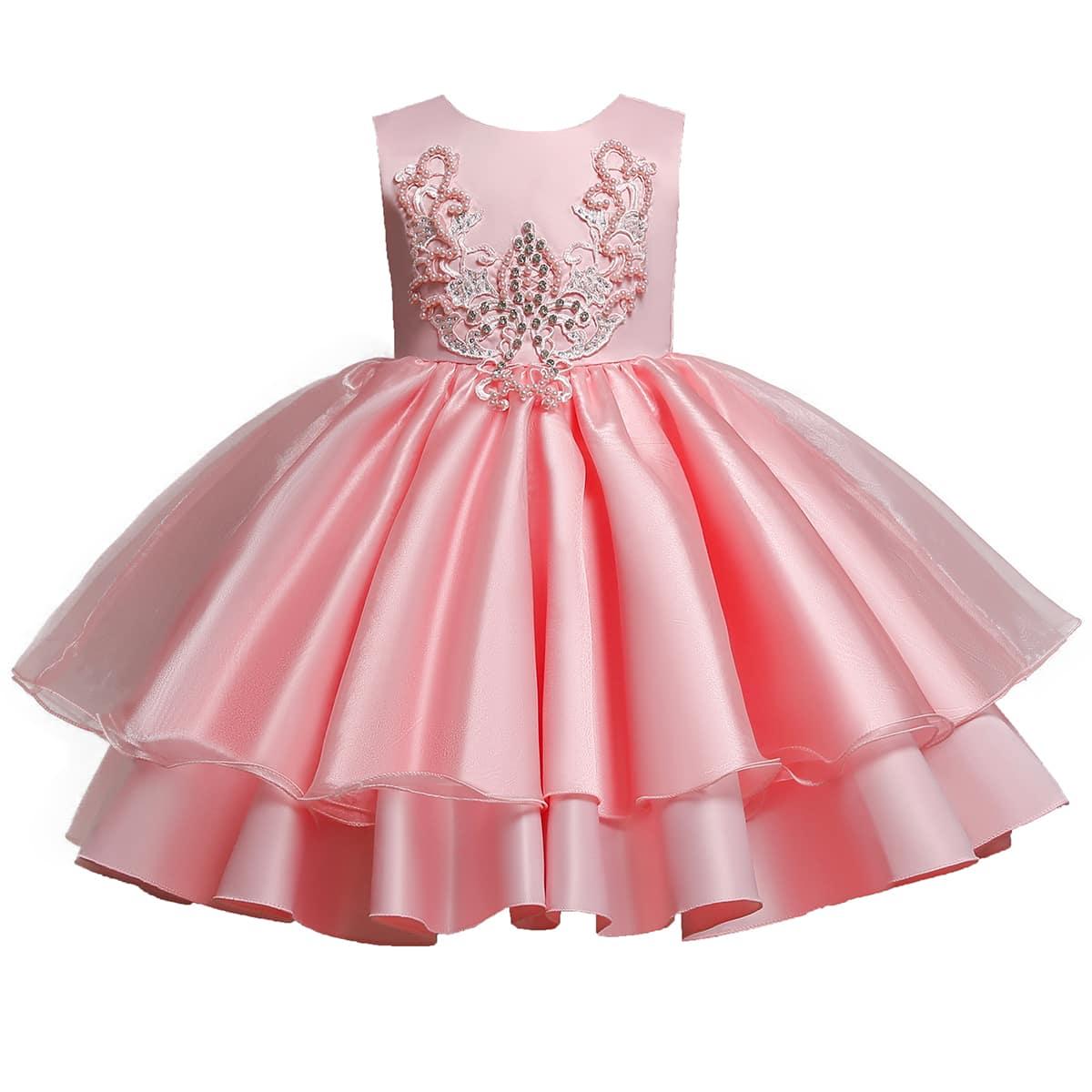 Многослойное платье со стразами для девочек