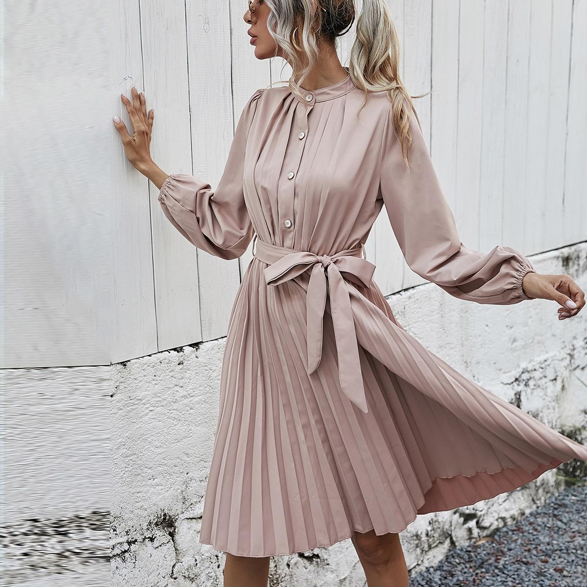 на пуговицах Одноцветный Элегантный Платье