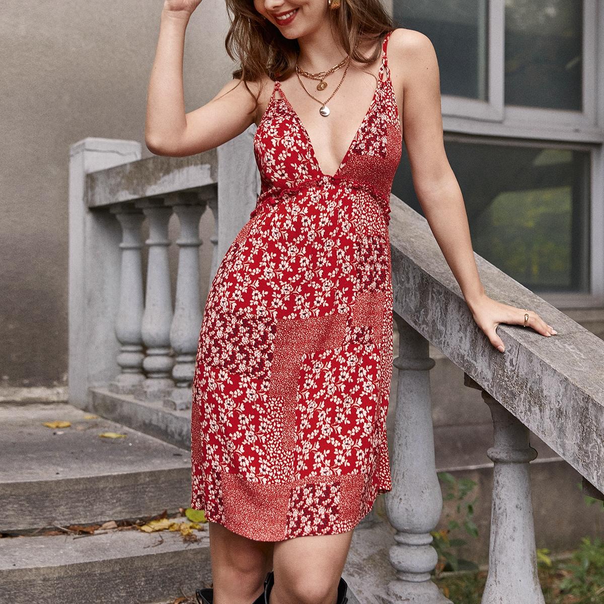 Оборка цветочный Бохо Платье
