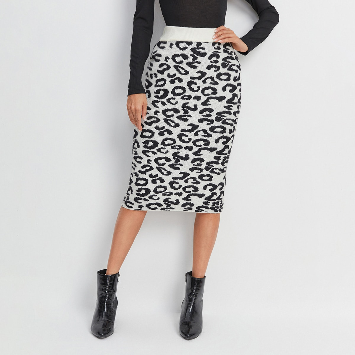 Леопард элегантный вязаные юбки