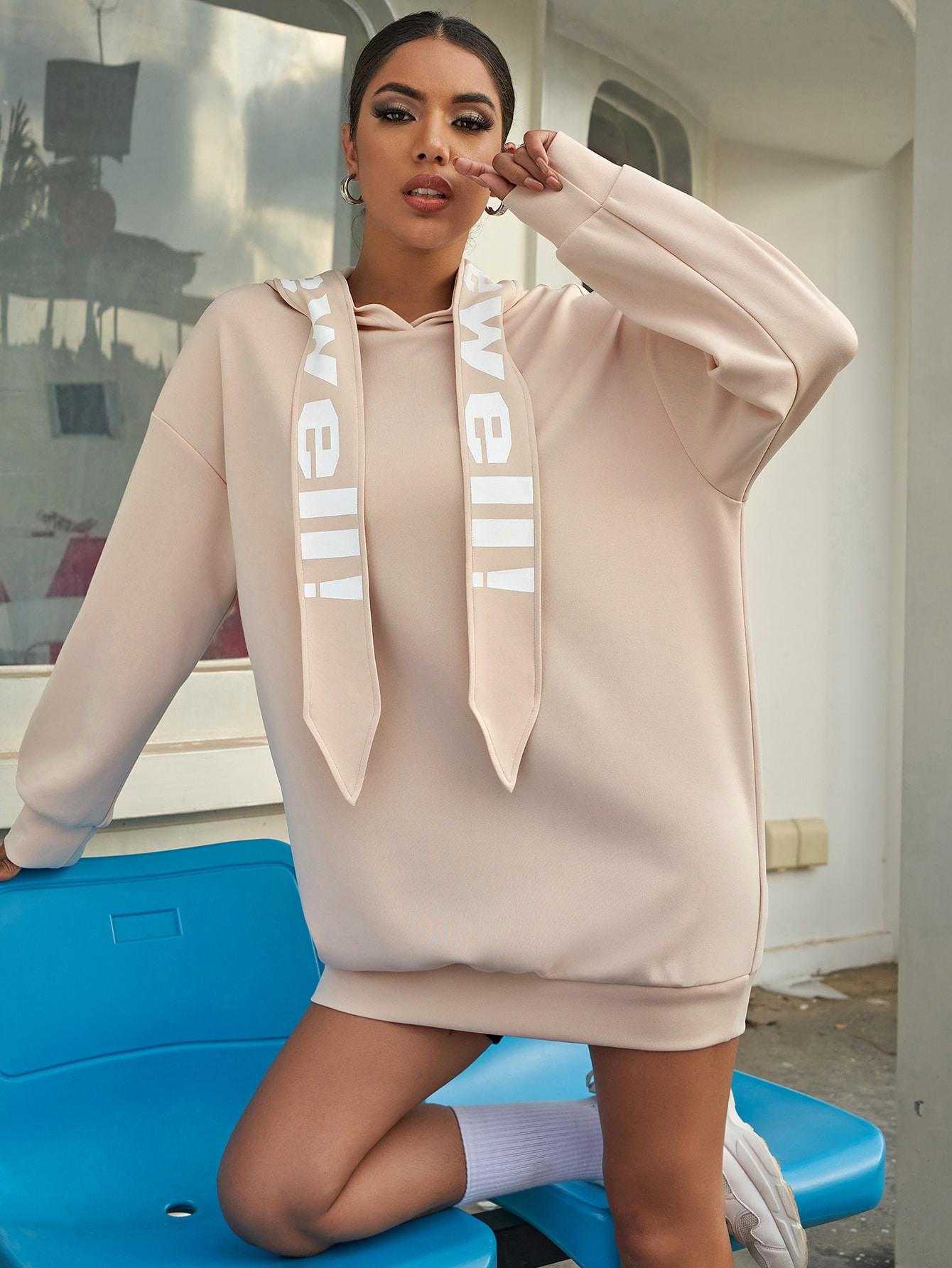 Drop Shoulder Letter Graphic Draped Hooded Oversized Sweatshirt Dress thumbnail