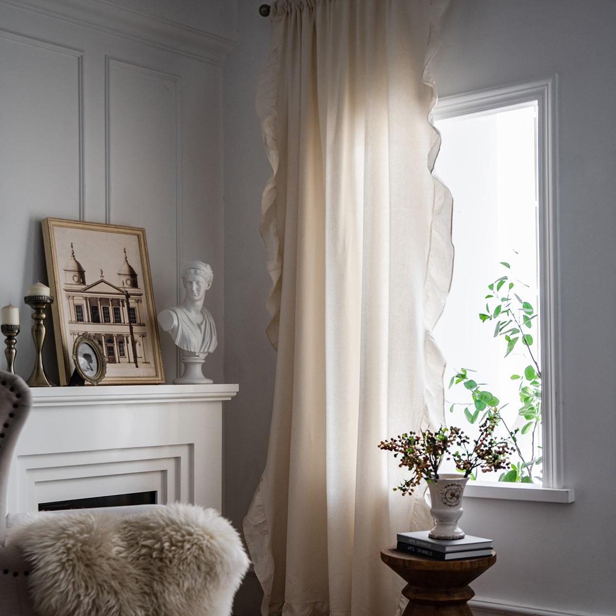 1 Schal Vorhang mit Rüschen