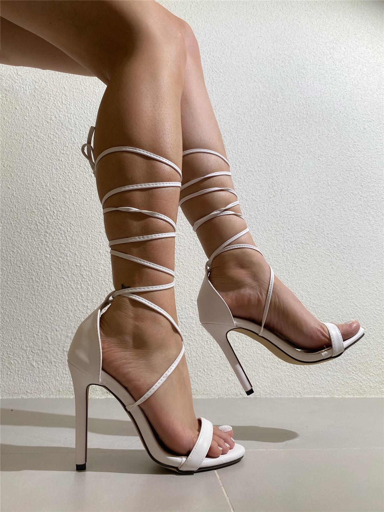 Tie Leg Stiletto Heeled Sandals thumbnail