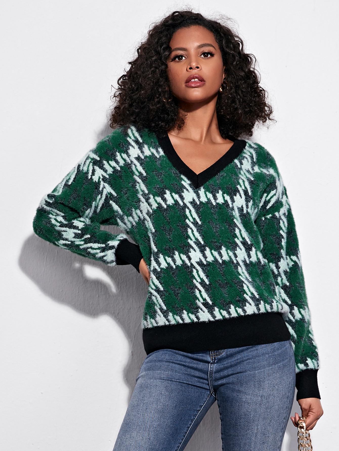 Contrast Trim Plaid Sweater thumbnail