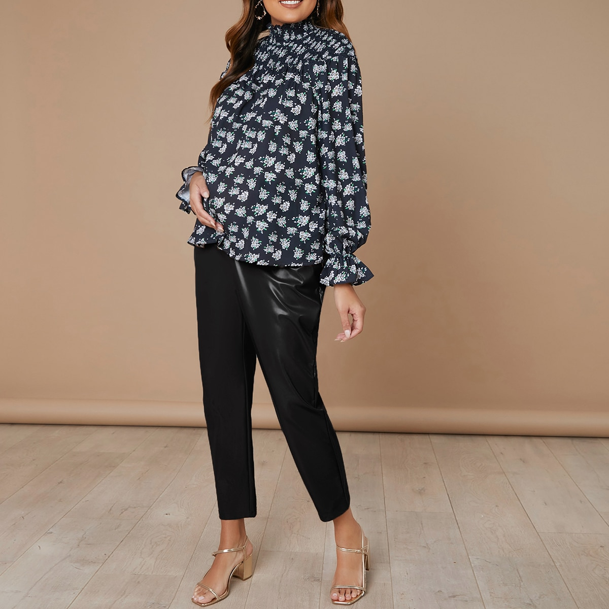 С оборками цветочный бохо блузы для беременных