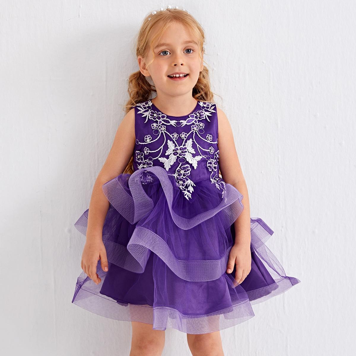 Многослойное платье с цветочной вышивкой для девочек