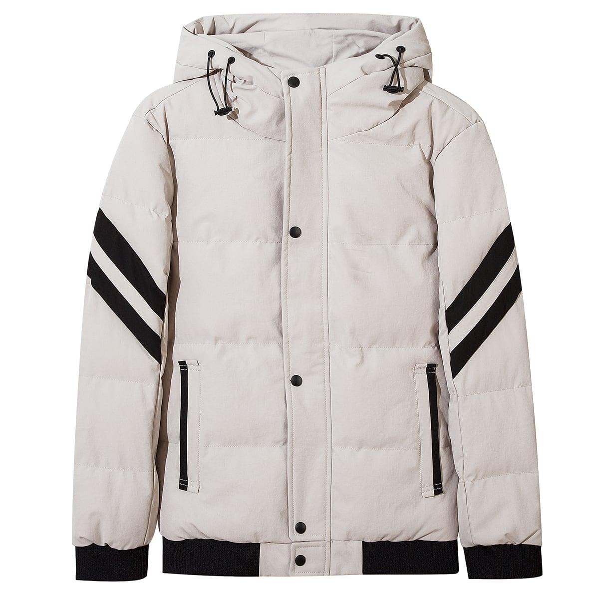 Мужская теплая куртка на кулиске с капюшоном и текстовым принтом