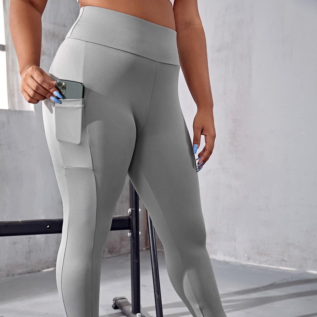 Простые спортивные колготки большого размера с широким поясом и карманами для сотовых телефонов