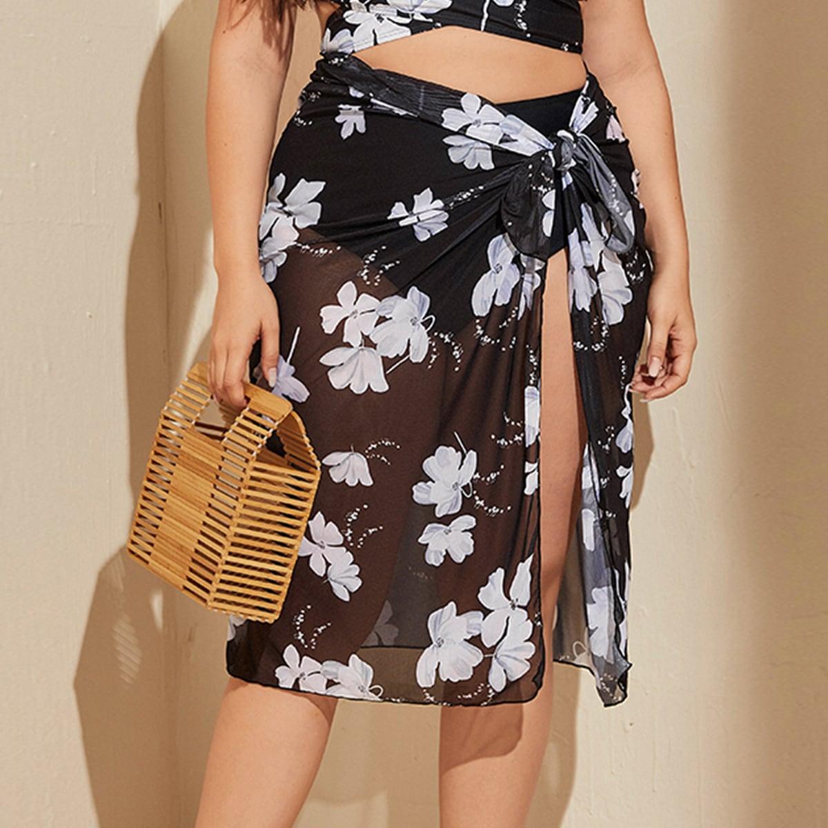 Сетчатая юбка-накидка размера плюс с цветочным узором