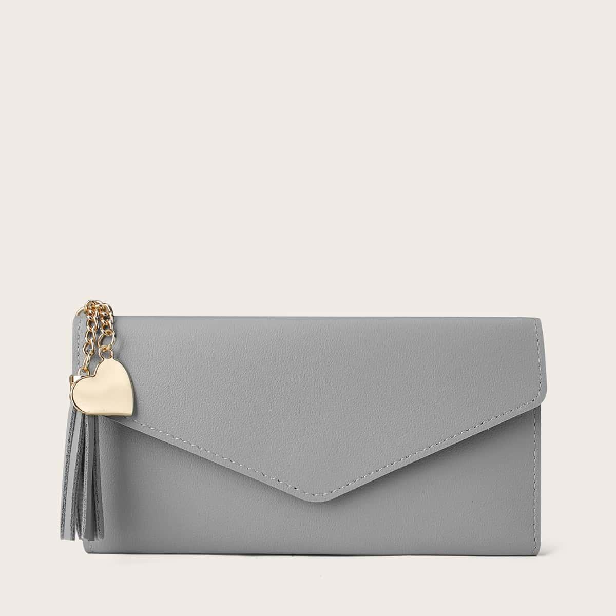 Briefumschlag-Geldbörse mit Quasten & Herzen Anhänger