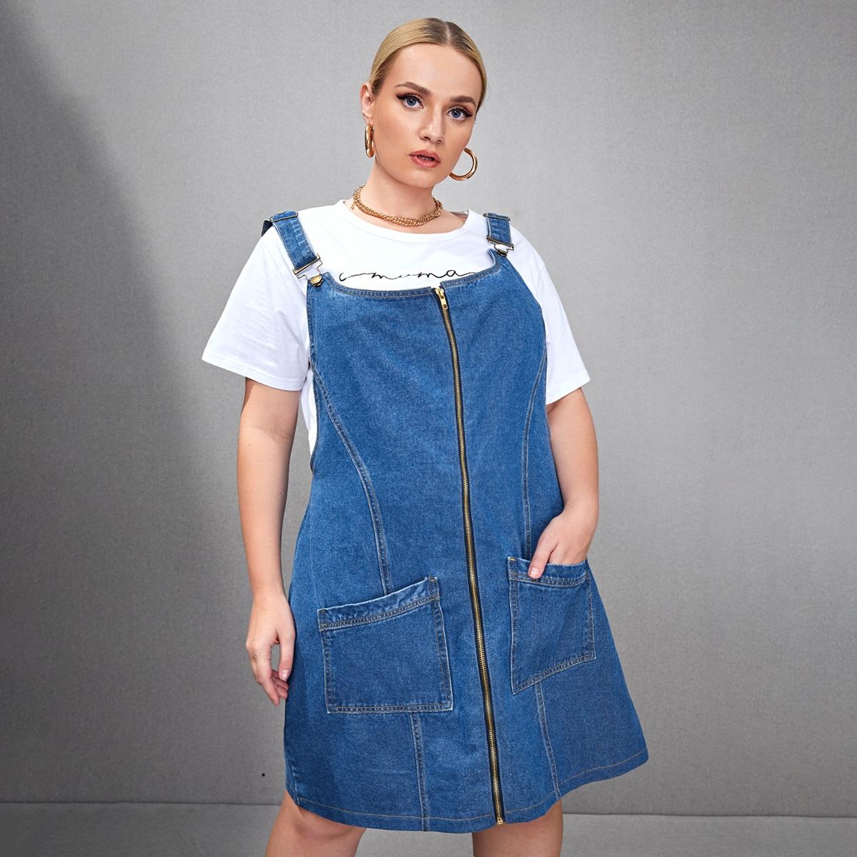 На молнии одноцветный повседневный джинсовые платья размер плюс