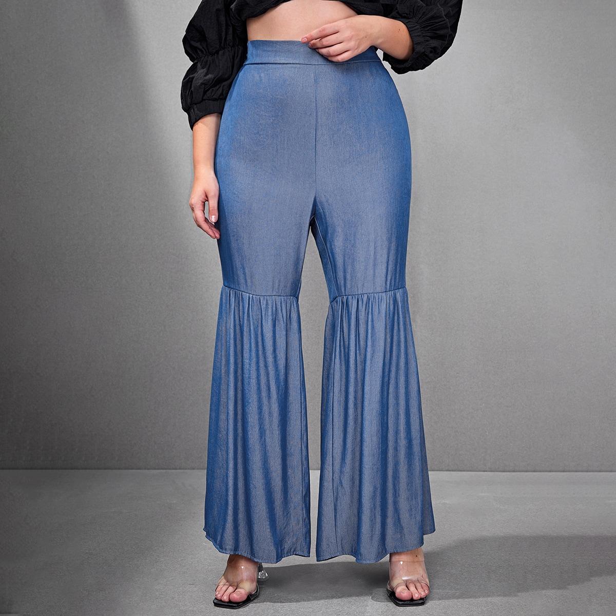 С оборками одноцветный повседневный джинсы размер плюс