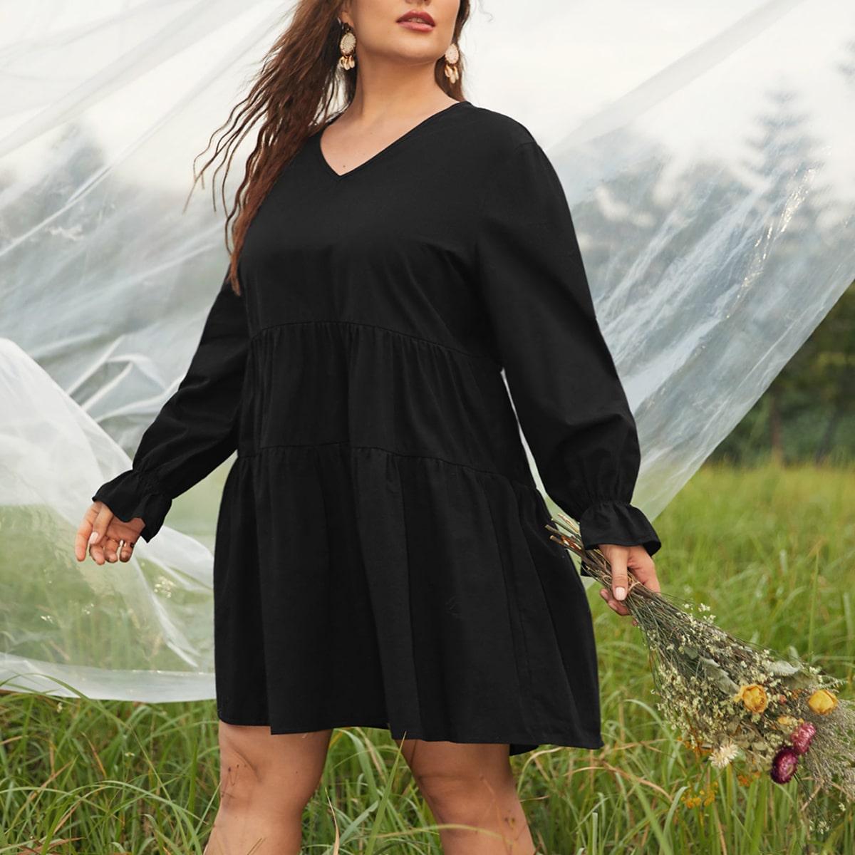 С оборками Одноцветный Повседневный Платья размер плюс