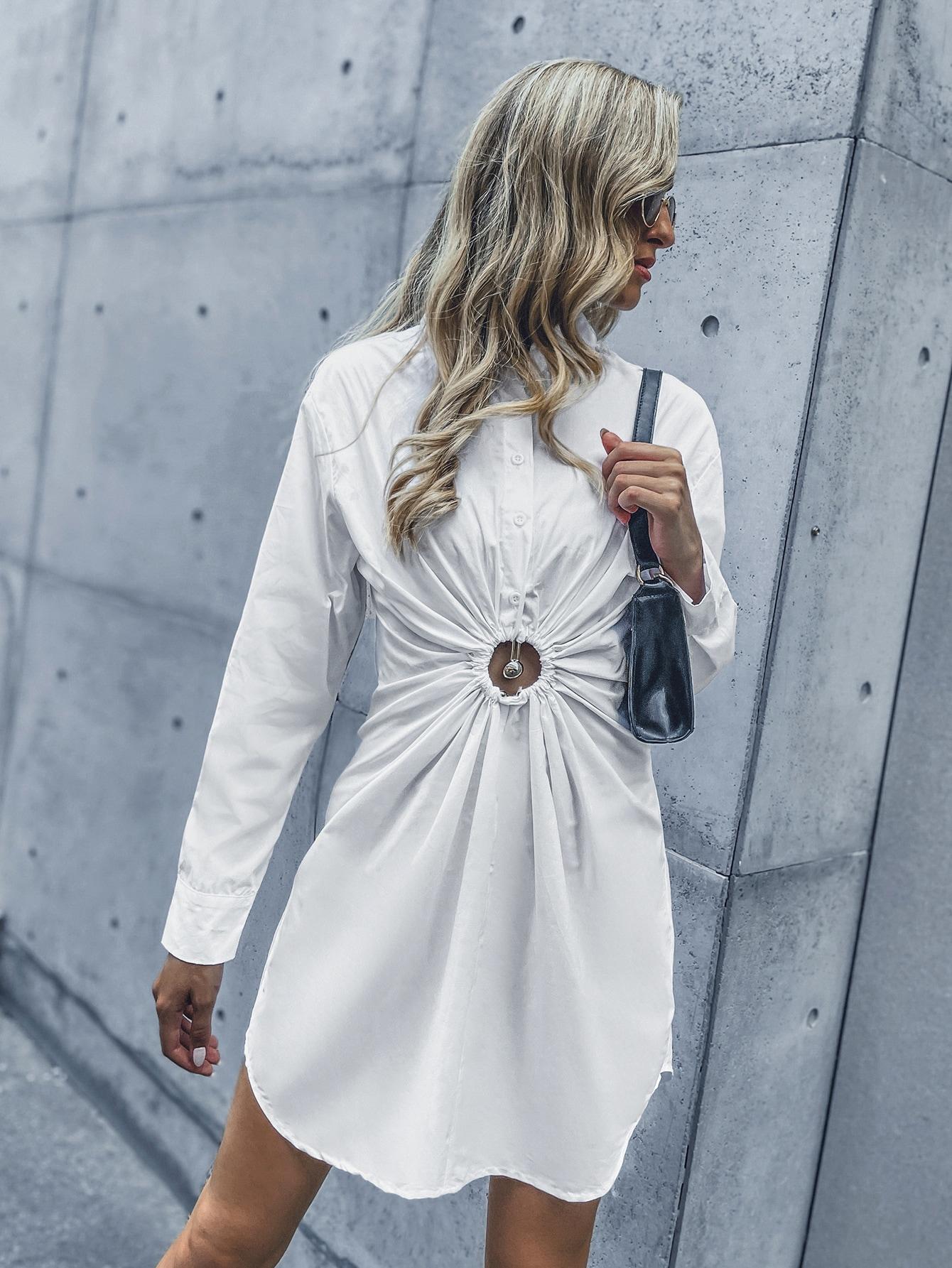 Button Back & Front Drawstring Shirt Dress thumbnail