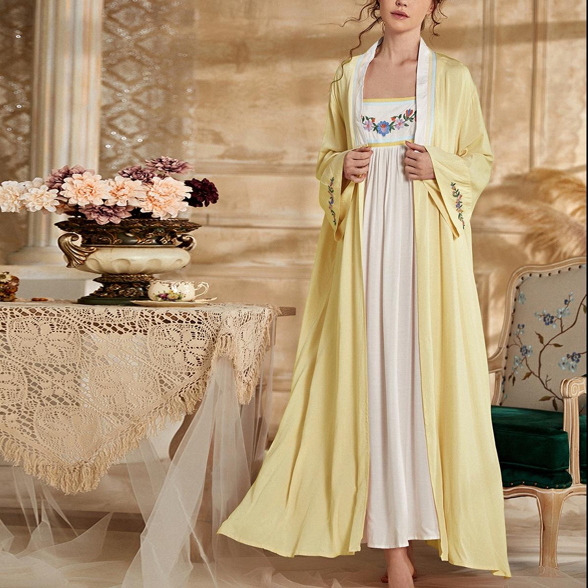 2шт платье на бретельках и ночной халат с цветочной вышивкой
