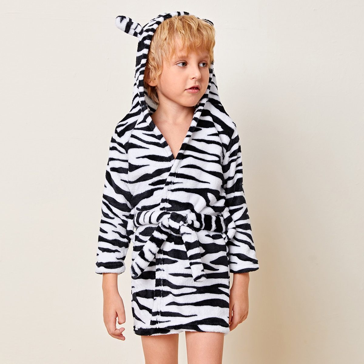 С поясом в полоску зебры милый домашняя одежда для мальчиков