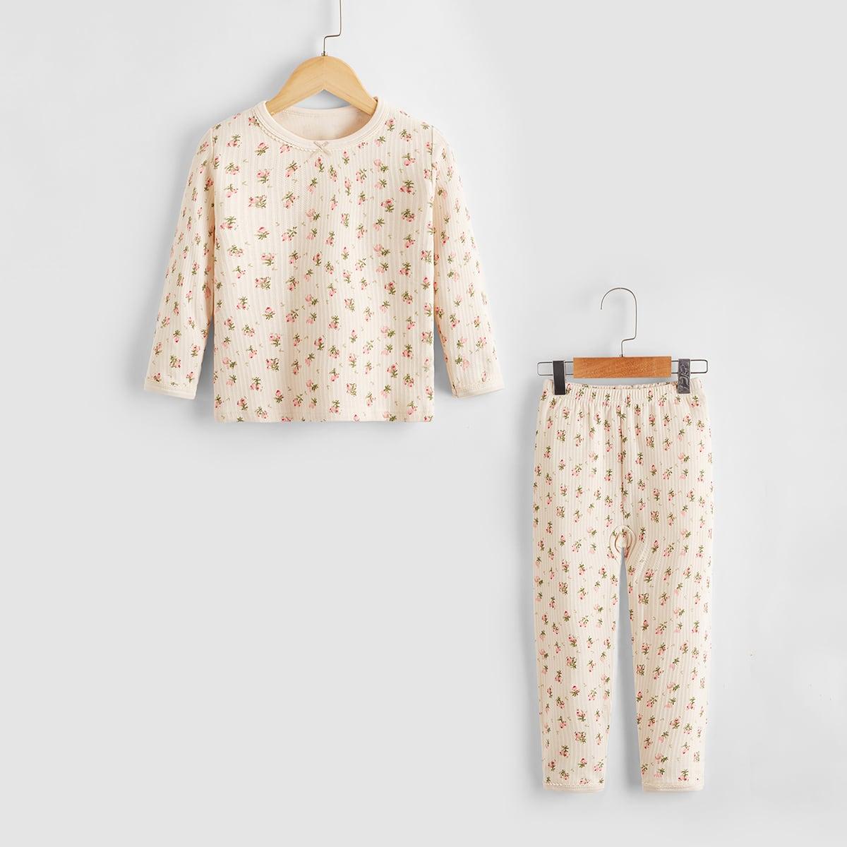 Пижама с цветочным принтом для девочек