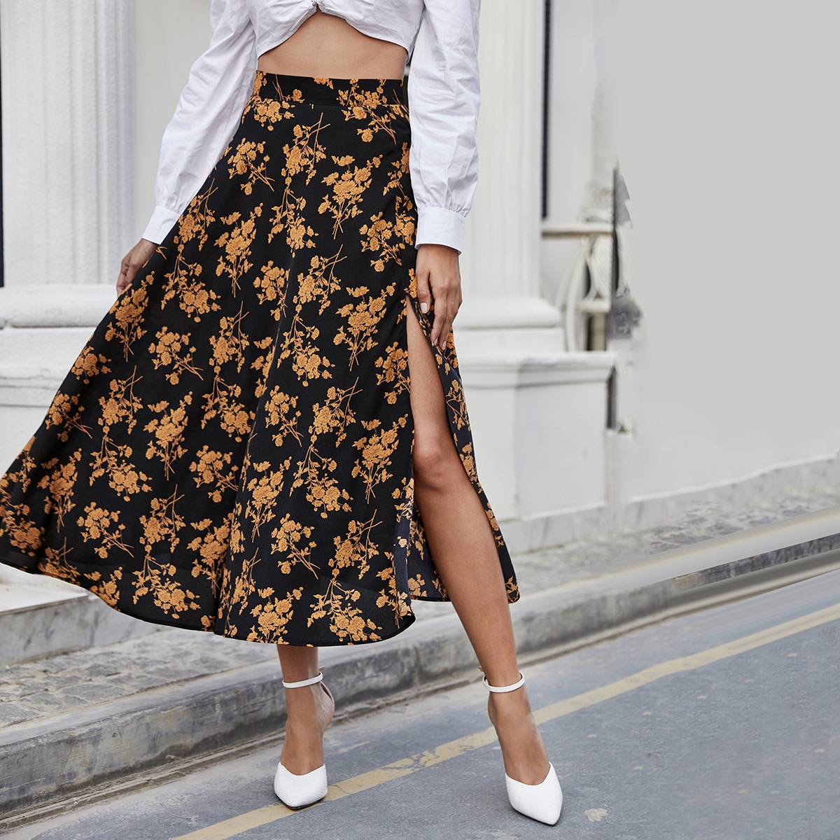 Split Thigh Floral Skirt