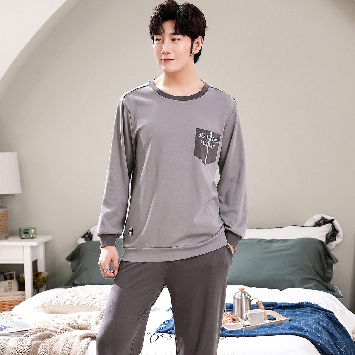 С карманами буква повседневный мужская домашняя одежда