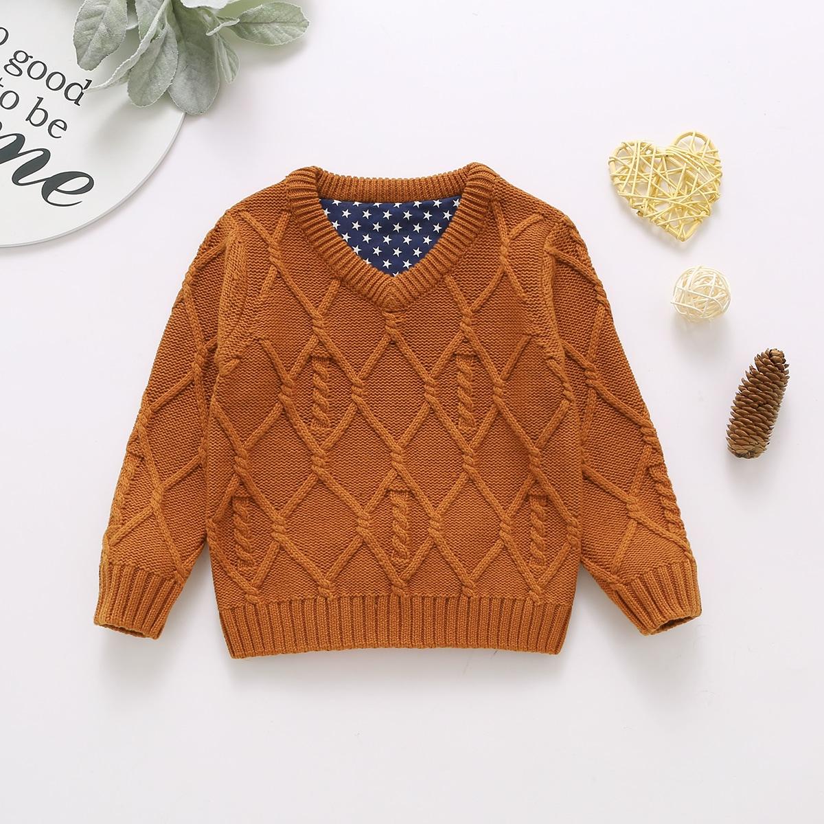 Геометрический принт повседневный свитеры  для малышей
