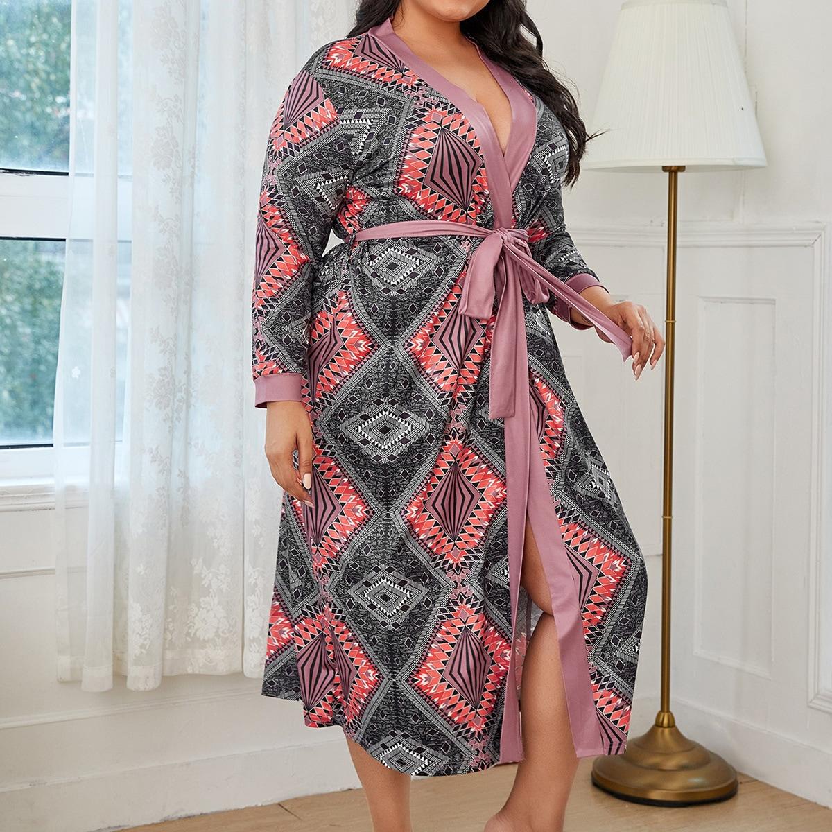 С поясом геометрический принт повседневный домашний халат размера плюс