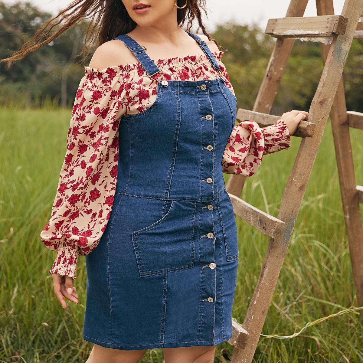 Джинсовое платье размера плюс с пуговицами и карманом