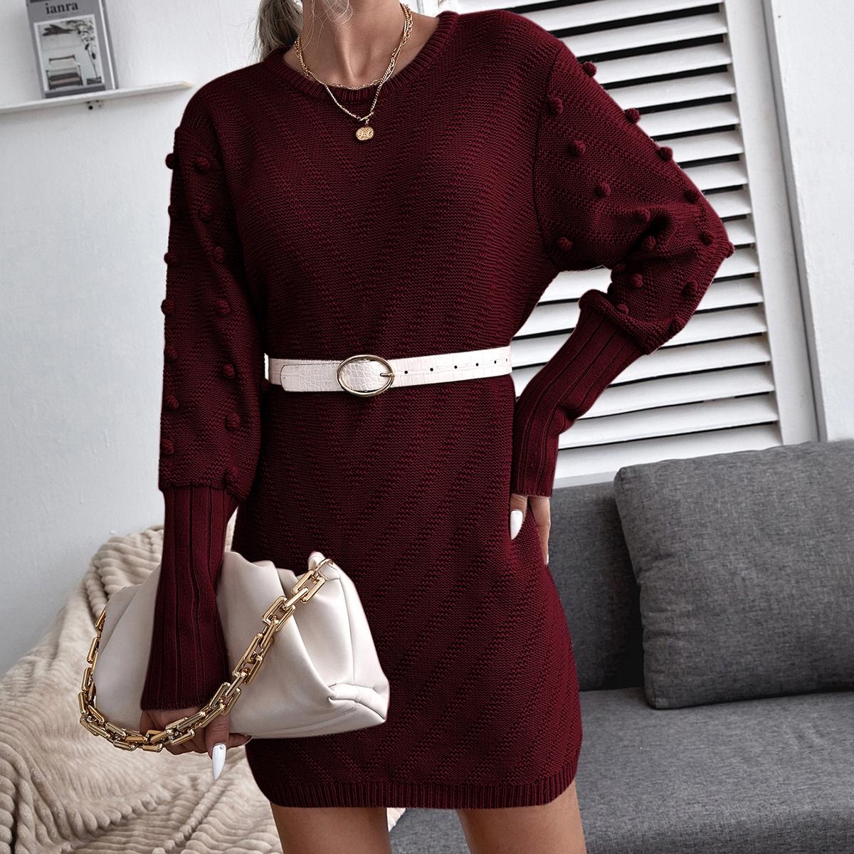 Popcorn Knit Sleeve Sweater Dress Without Belt