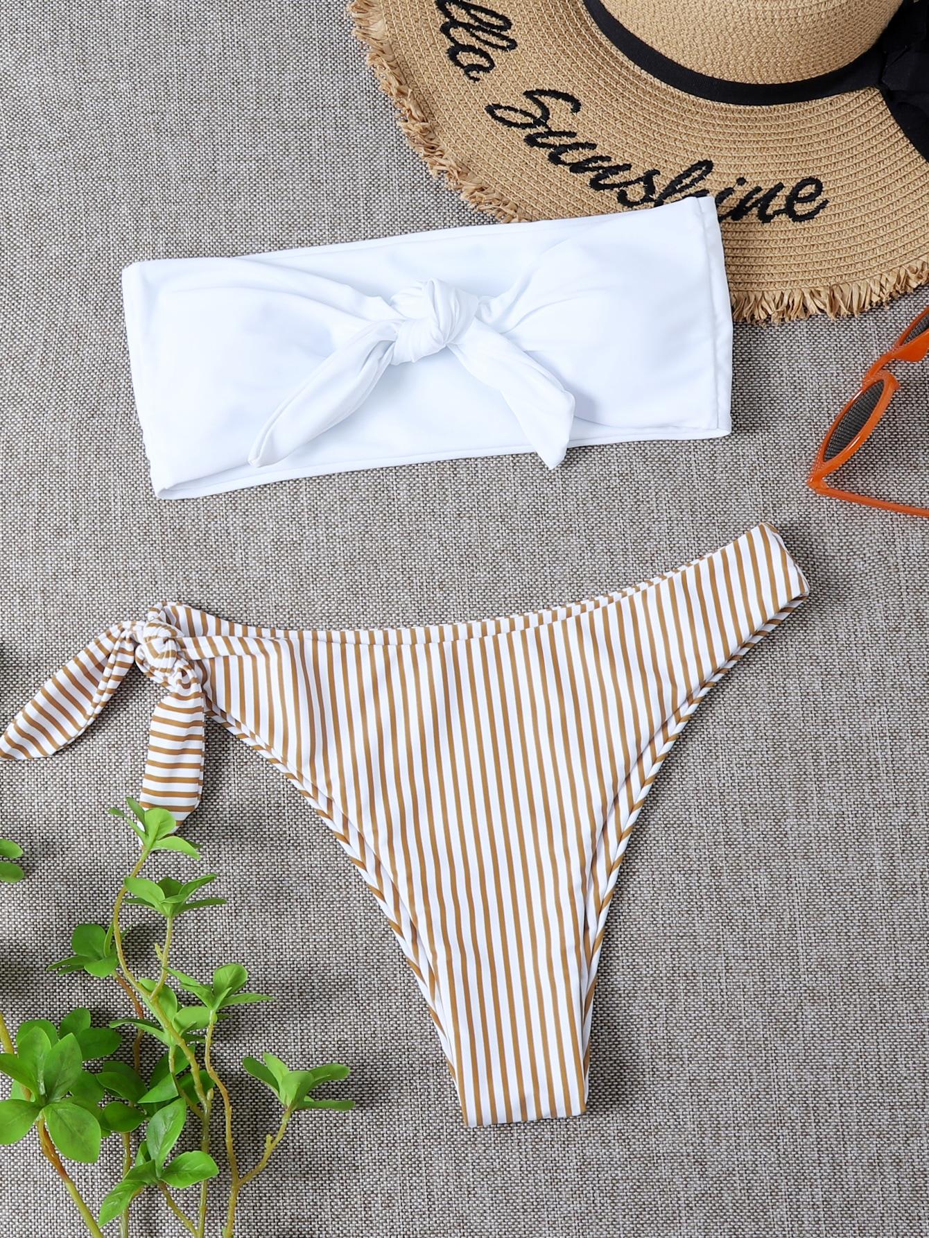 Striped Knot Front Bandeau Bikini Swimsuit thumbnail