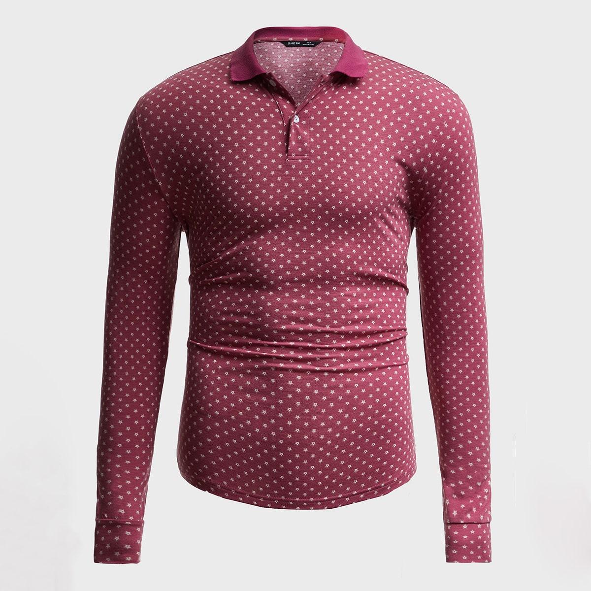 Мужская рубашка-поло с принтом