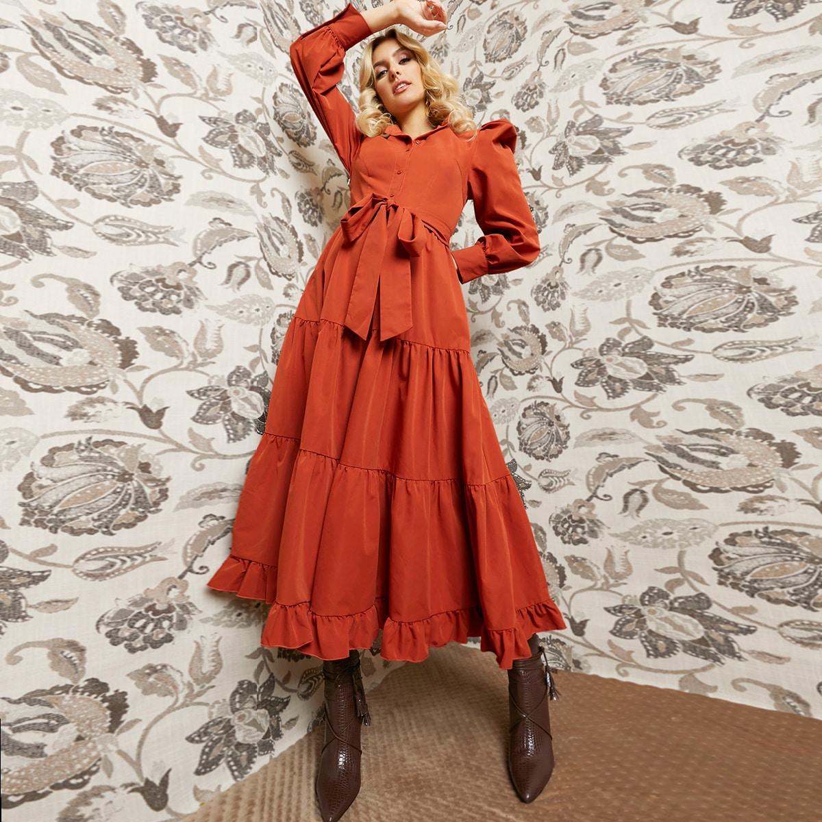 Платье-рубашка с поясом и пышным рукавом