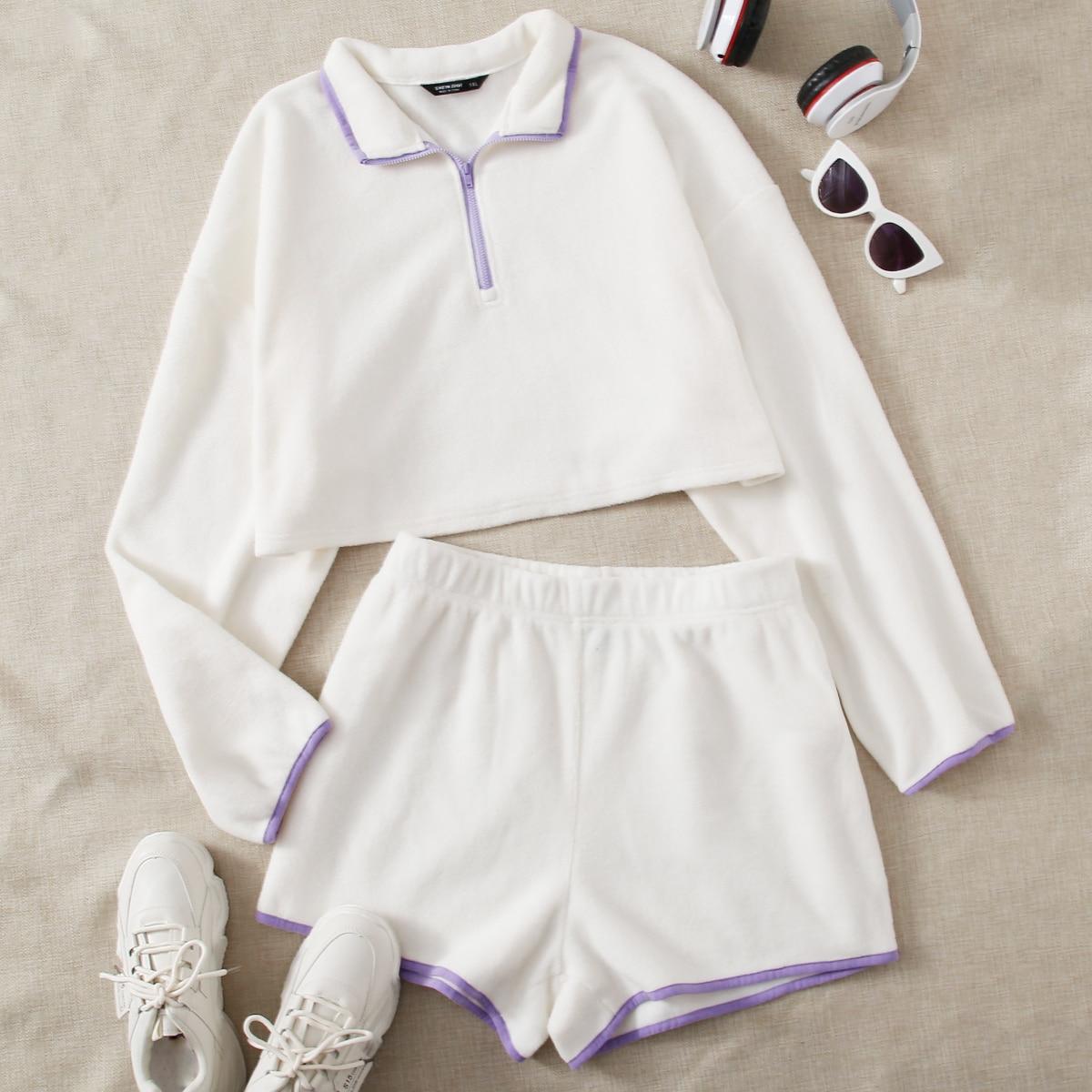 Плюшевые шорты размера плюс с эластичной талией