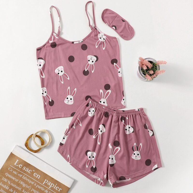 Rabbit & Polka Dot Print Cami Top & Shorts PJ Set, Dusty pink