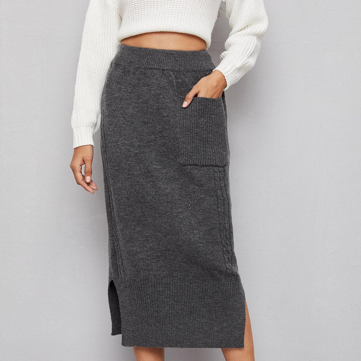 Трикотажная юбка с разрезом