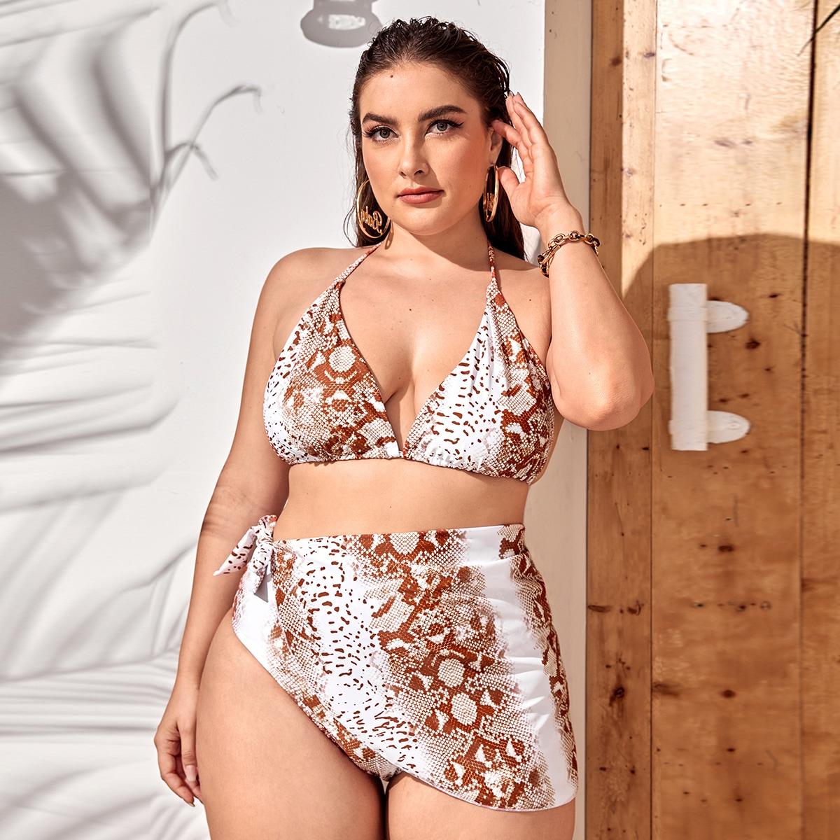 3 пакета бикини и пляжная юбка с змеиным принтом