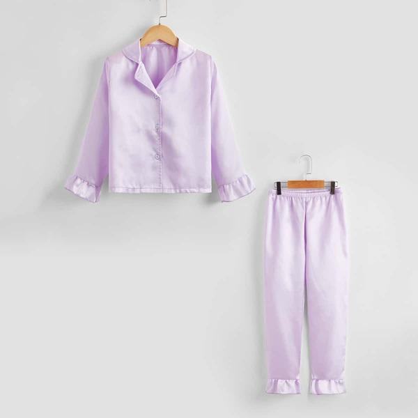 Girls Satin Lapel Neck Ruffle Hem PJ Set, Lilac purple