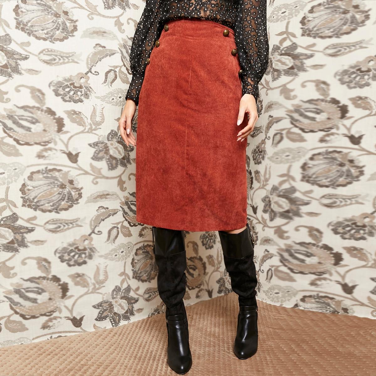 Вельветовая прямая юбка с пуговицами