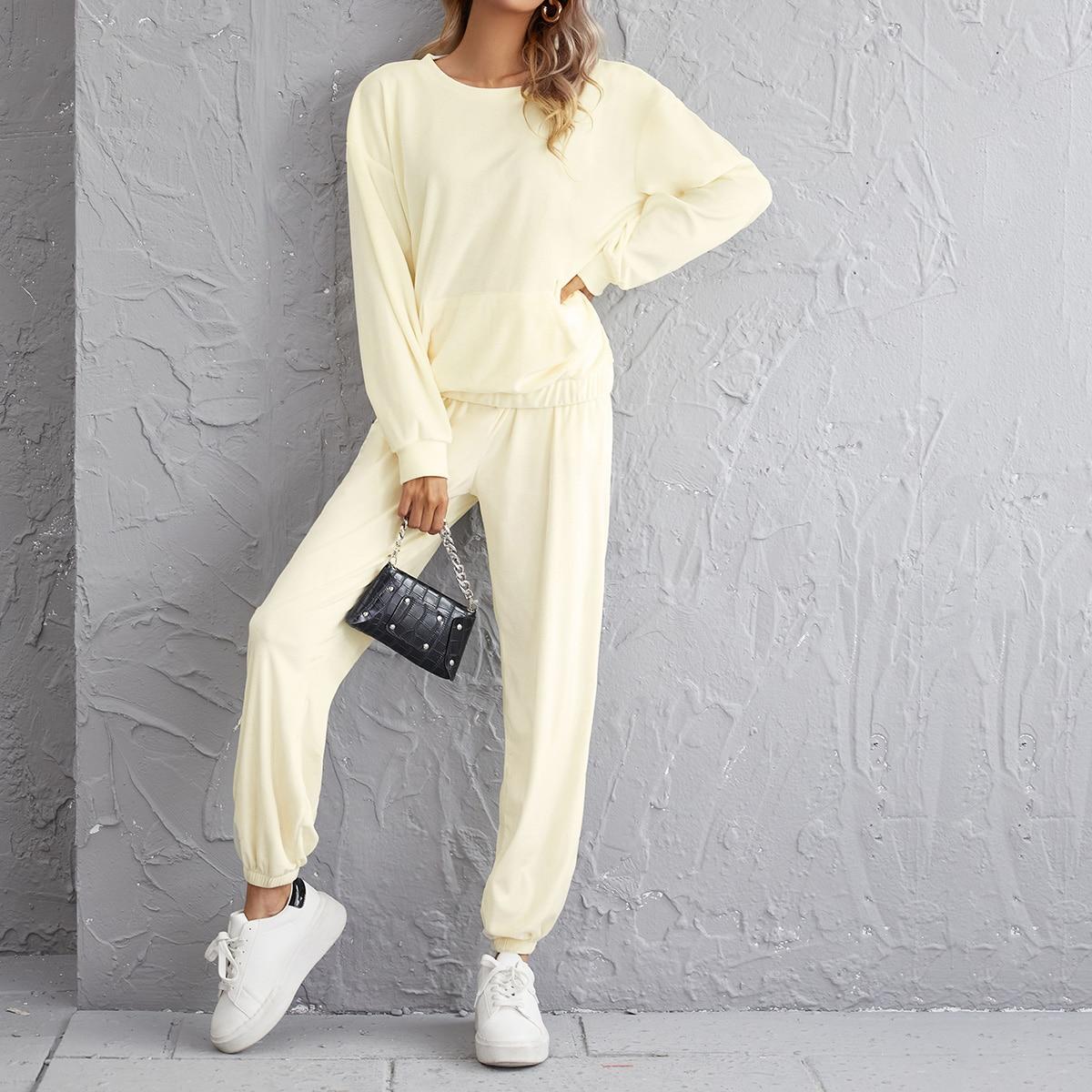 Kangaroo Pocket Pullover & Sweatpants Set