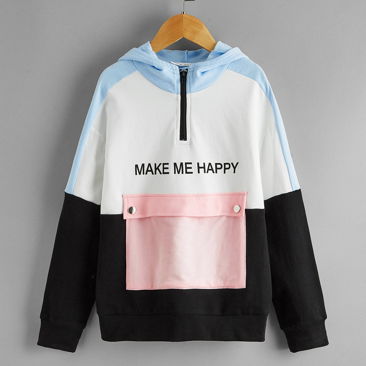 Girls Slogan Graphic Colorblock Flap Pocket Half Placket Hoodie, SHEIN  - buy with discount