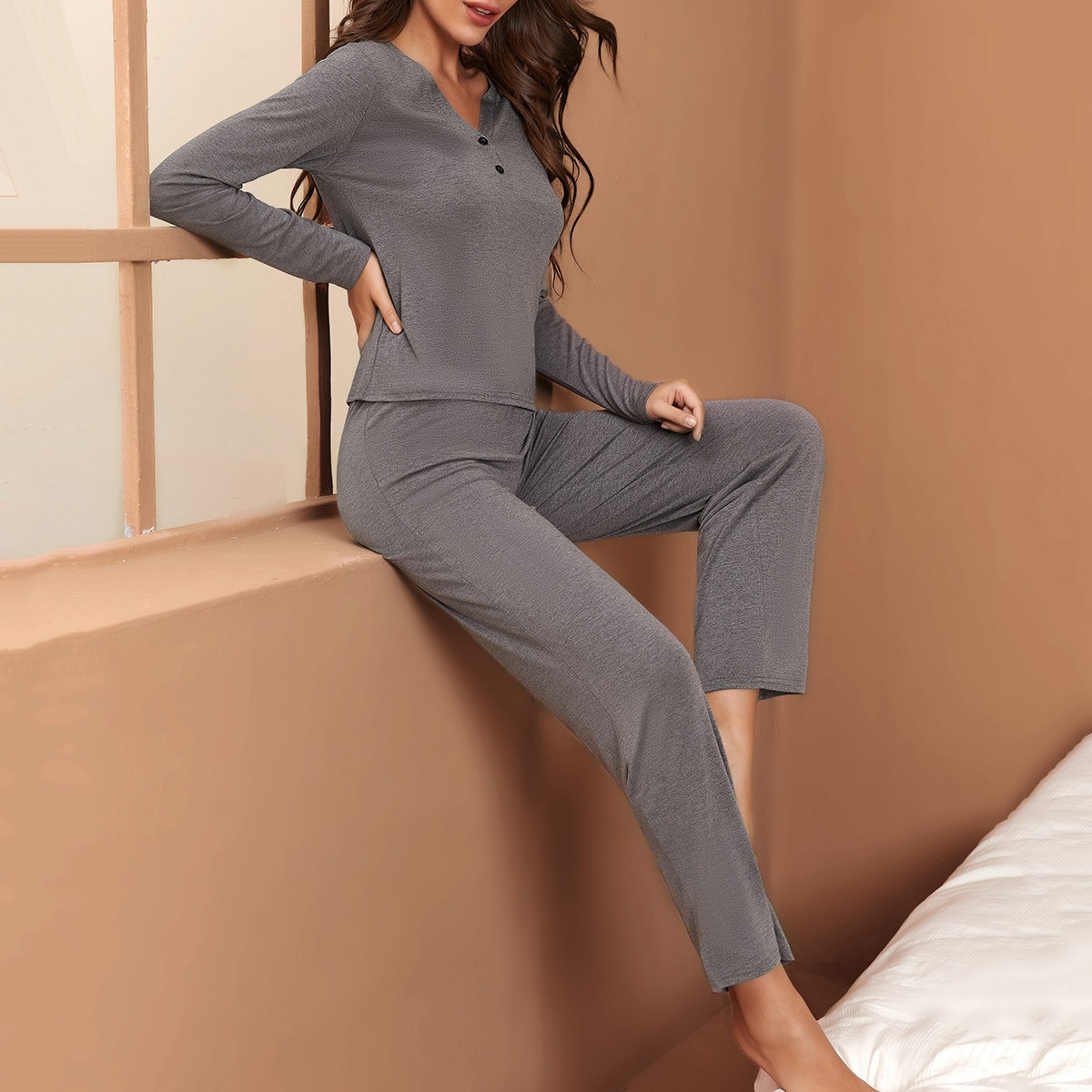 V Neck Tee With Knot Front Pants Lounge Set